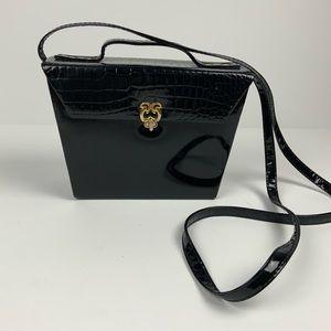 Vintage Black Patent Leather Coffin Box Purse EUC